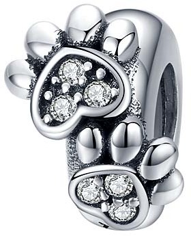 Silver Angle Women's Jewelry Charms White - Cubic Zirconia & Sterling Silver Paw Prints Bead Charm