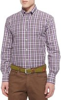 Peter Millar Midtown Plaid Woven Sport Shirt, Red