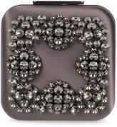 Manolo Blahnik Hangi dark grey crystal silk clutch