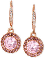 Betsey Johnson Rose Gold-Tone Pink Crystal Circle Drop Earrings