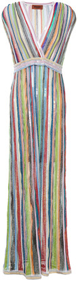 Missoni Wrap-effect Sequin-embellished Crochet-knit Maxi Dress