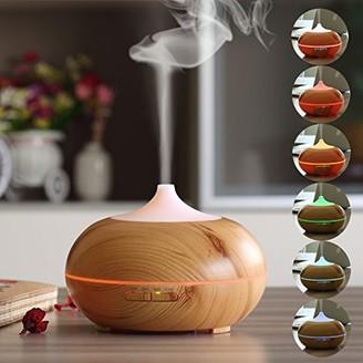 Anivia 300ml Aroma Essential Oil Diffuser Wave Design Wood Grain Air Humidifier