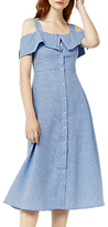 Warehouse Button-Through Linen-Blend Dress, Light Blue