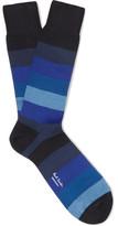 Paul Smith Striped Mercerised Cotton-blend Socks - Blue