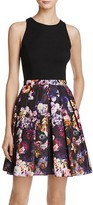 Aqua Floral-Skirt Dress