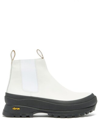 Jil Sander Chunky-sole Leather Chelsea Boots - White Black
