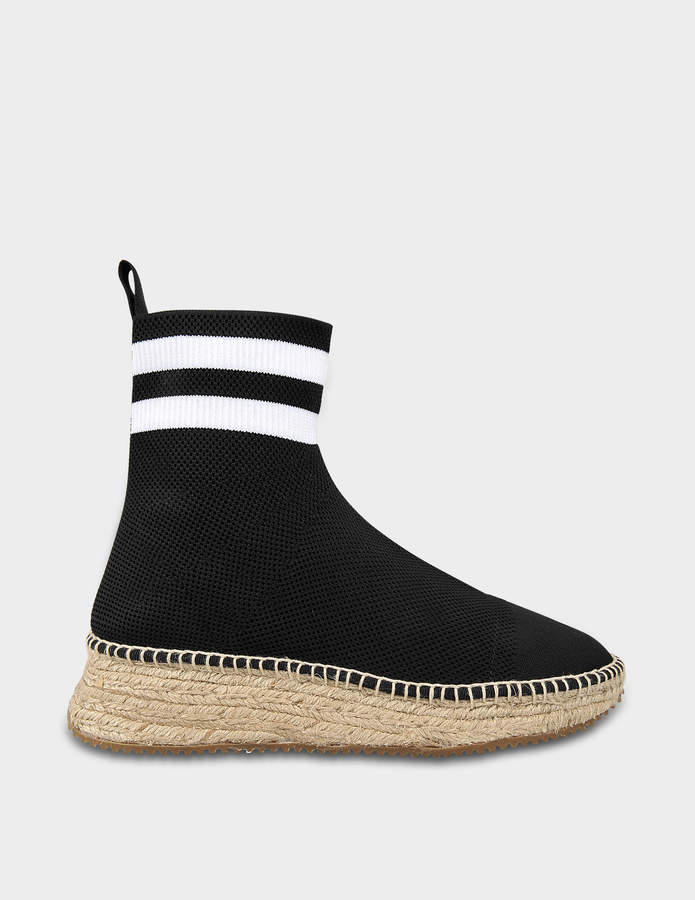Alexander Wang Dylan Espadrille Booties in Black and White Polyester and Spandex