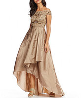 Adrianna Papell Off-The-Shoulder Beaded Hi Lo Gown