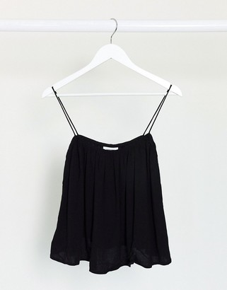 Weekday Elliana linen blend cami top in black