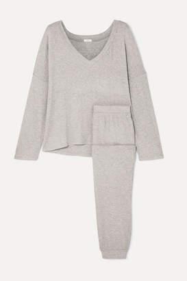 Eberjey Elon Ribbed Stretch-jersey Pajama Set - Gray