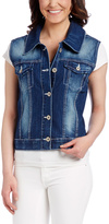 Amethyst Jeans Anna Crochet-Back Denim Vest - Plus