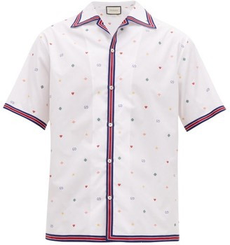 Gucci Fil-coupe Cotton-poplin Bowling Shirt - Mens - White Multi