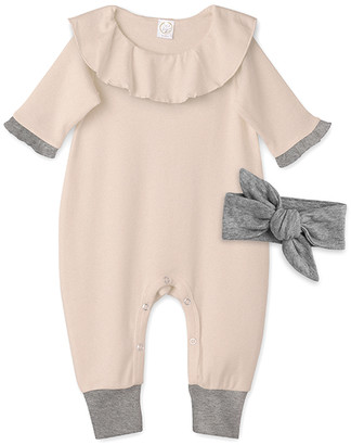 Tesa Babe Girls' Rompers Heather/Charcoal - Heather Sand Ruffle-Collar Playsuit & Charcoal Bow Headband - Newborn & Infant