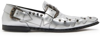 Dolce & Gabbana Studded Metallic-Finish Loafers
