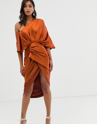 ASOS EDITION drape asymmetric midi dress in satin