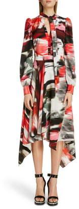 Alexander McQueen Rose Print Silk Asymmetrical Long Sleeve Dress