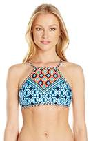 Kenneth Cole New York Women's Tribe Vibes Cropped High Neck Bra Bikini Top
