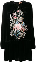 No.21 floral embroidery velvet dress
