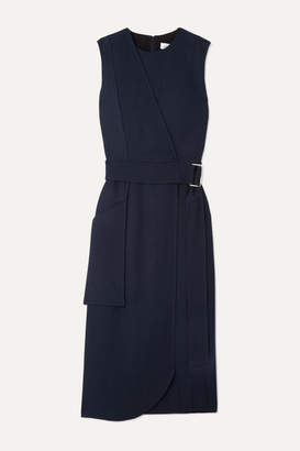 Victoria Beckham Belted Crepe Midi Dress - Navy