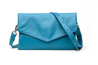 Holly & Tanager Explorer Leather Crossbody Clutch In Ocean Blue