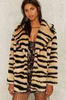 Factory Jakke Heather Faux Fur Tiger Coat