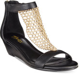 Thalia Sodi Tibby Gold-Mesh Embellished Wedge Sandals, Only at Macy's