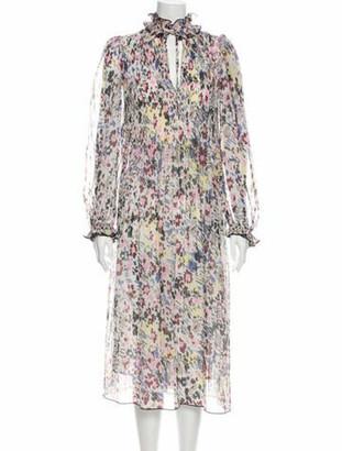 Ganni Floral Print Midi Length Dress White