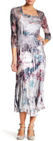Komarov Square Neck 3/4 Length Sleeve Maxi Dress