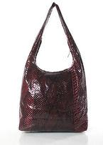 Trussardi Red Snakeskin Zippered Top Shoulder Handbag