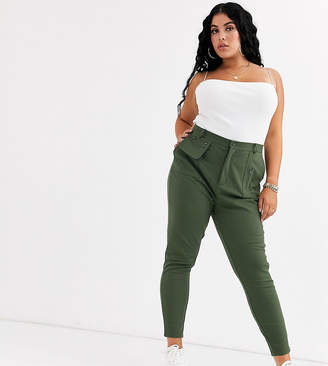 Asos DESIGN Curve ponte skinny pants with utility pockets-Green