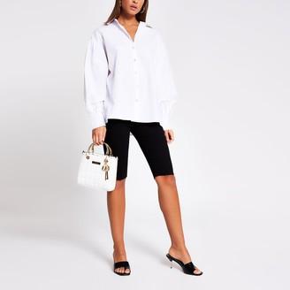 River Island Womens White balloon sleeve shirt