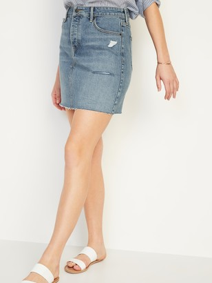 Old Navy High-Waisted Button-Fly Ripped Cut-Off Jean Skirt for Women