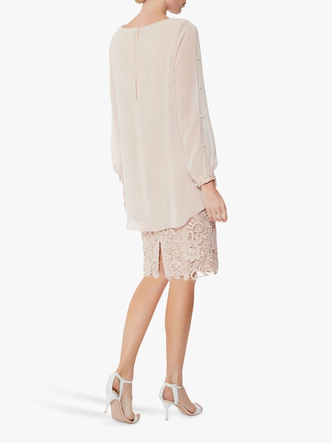 Thumbnail for your product : Gina Bacconi Isotta Chiffon Overtop Guipure Lace Dress, Antique Rose