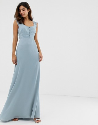 Maids To Measure Maids to Measure bridesmaid maxi dress with button front detail and tie back-Blue