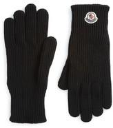 Moncler Men's Logo Patch Knit Wool Gloves
