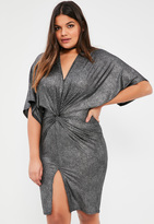 Missguided Plus Size Exclusive Silver Metallic Ribbed Knot Front Dress