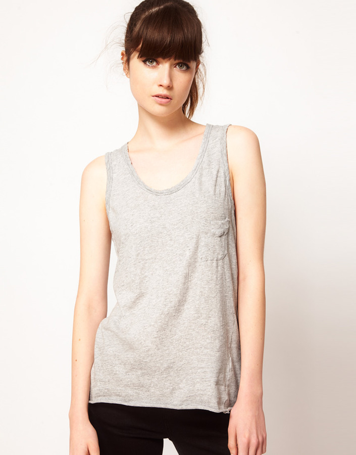 Bassike Loose Tank with Pocket