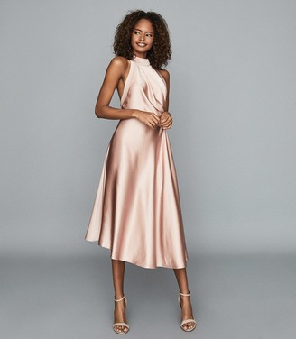 Reiss RITA Halterneck satin midi dress Pink