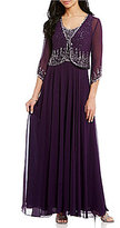 J Kara 3/4 Sleeve Beaded Jacket Gown