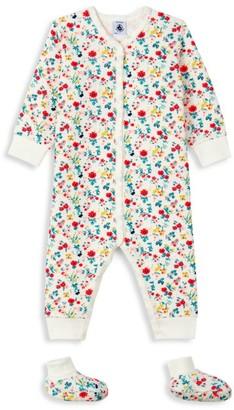 Petit Bateau Baby Girl's 2-Piece Floral Coverall & Shoes Set