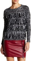 Romeo & Juliet Couture Mixed Knit Fringe Panel Sweater
