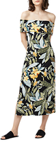 Warehouse Tropical Print Bardot Mini Dress, Black/Multi