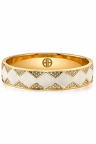 House Of Harlow Crystal Pave Bangle with Cream Leather