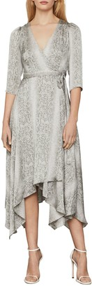 BCBGMAXAZRIA Python-Print Asymmetrical Wrap Dress