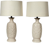 One Kings Lane Vintage 1960s Asian-Style Ceramic Table Lamps,Pr - 2-b-Modern - off white