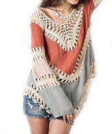Pinktime Women Loose V-Neck Long Sleeve Knit Splice Irregular Hem Blouse Tops (XL, )