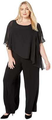 Adrianna Papell Plus Size Matte Jersey Cape Overlay Jumpsuit (Black) Women's Jumpsuit & Rompers One Piece