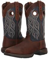 Durango Rebel 12 Western WP Square Steel Toe (Dark Brown/Blue) Cowboy Boots