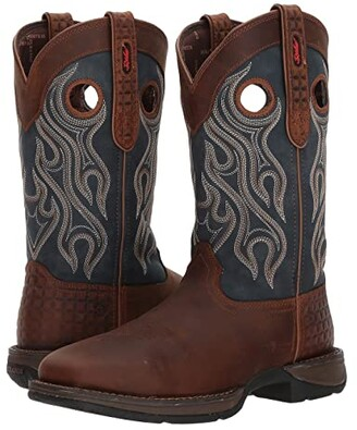 Durango Rebel 12 Western WP Square Steel Toe (Dark Brown/Blue) Cowboy Boots