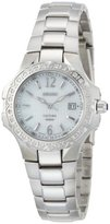 Seiko Women's SXDB59 Coutura Silver-Tone White Mother Of Pearl Dial 24 Diamonds Watch